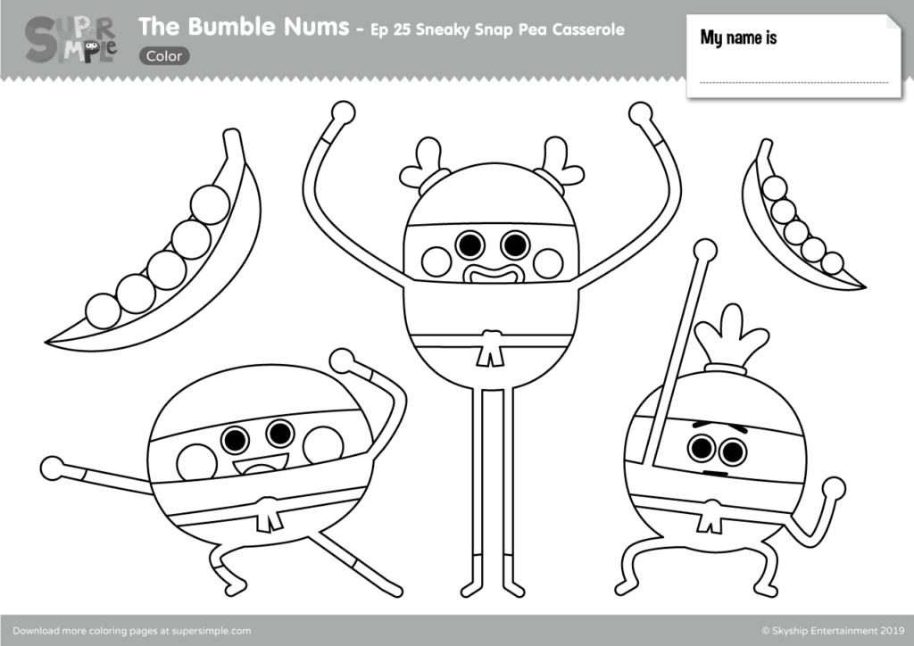 The Bumble Nums Color – Episode 25 – Sneaky Snap Pea Casserole
