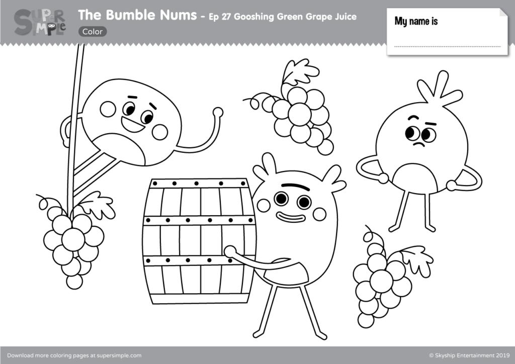 The Bumble Nums Color Episode 27 Gooshing Green Grape Juice Super Simple