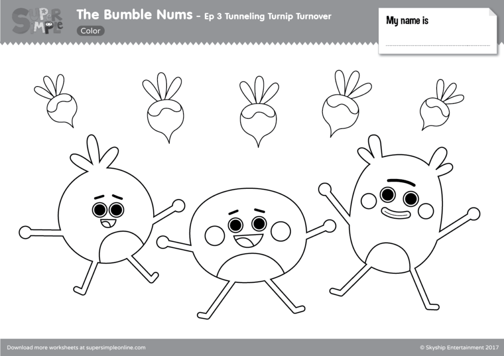 The Bumble Nums Color Episode 3 Tunneling Turnip