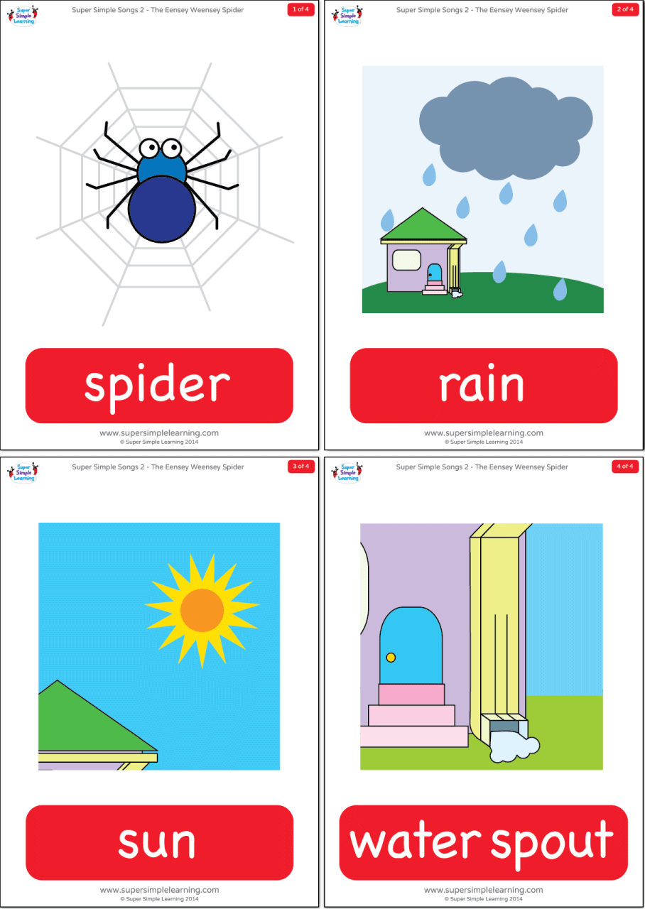 Ants In My Car >> The Itsy Bitsy Spider Flashcards | Super Simple