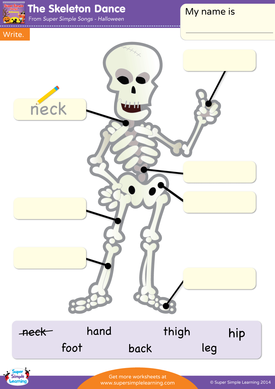the skeleton dance worksheet - write