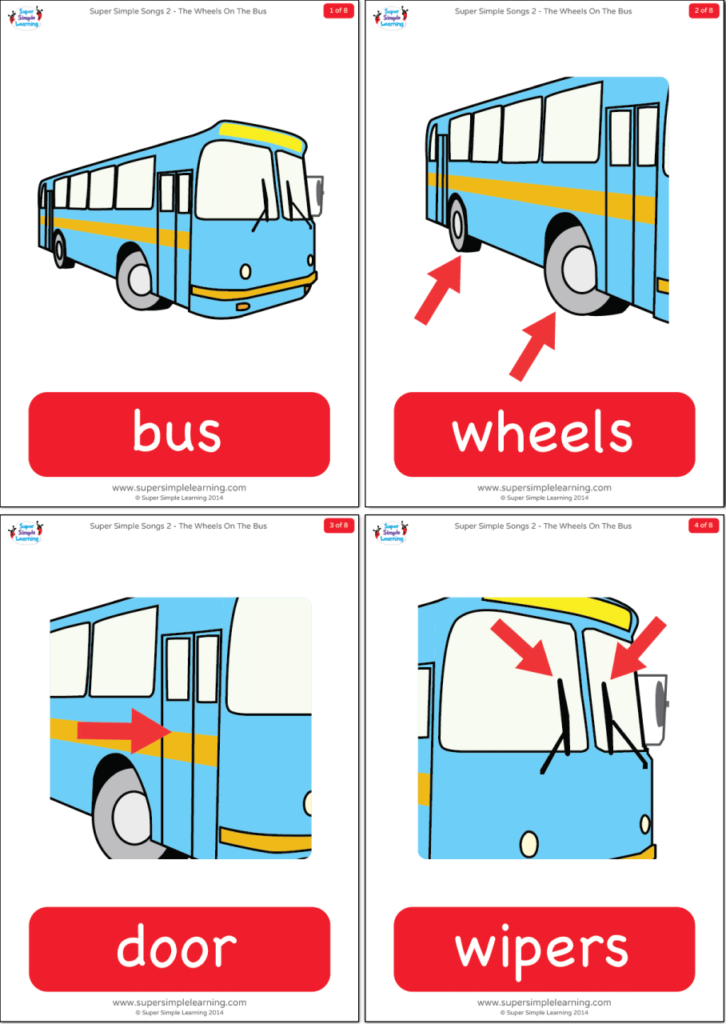 The Wheels On The Bus Flashcards Super Simple