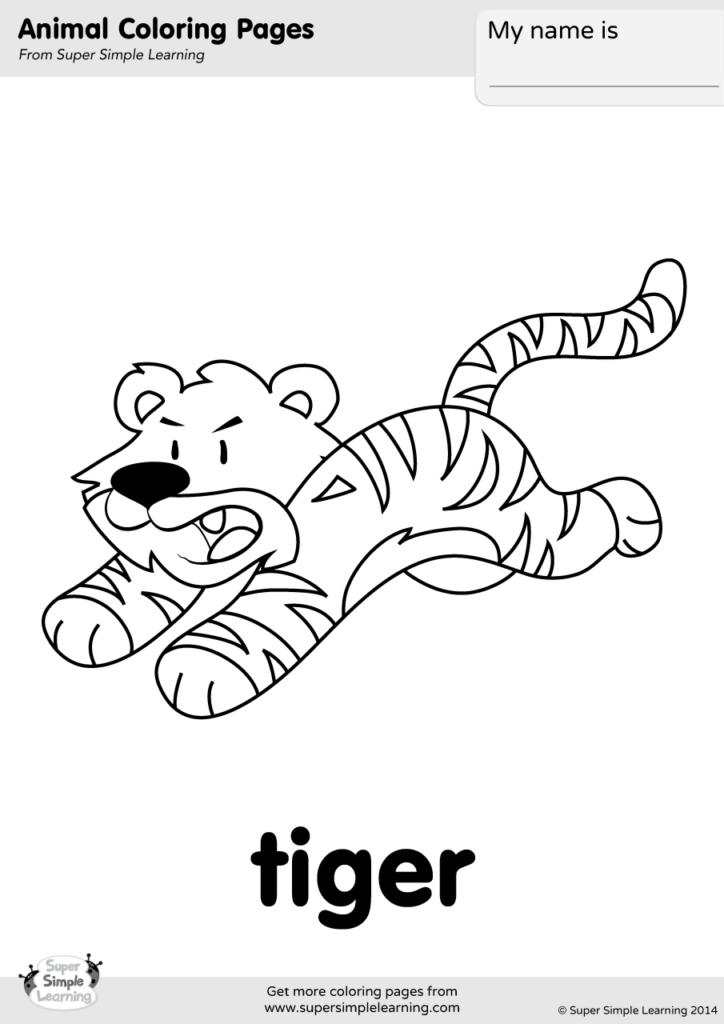 Tiger Coloring Page - Super Simple