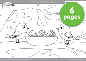 Its A Big Day In The Old Oak Tree As All Friends Gather To Welcome Baby Sparrows Make Your Own Treetop Family With This 6 Page Coloring