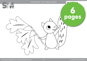 The Treetop Family Is Having Fun Making A Big Pile Of Leaves Get Ready To Jump Up In With This 6 Page Set Coloring Pages
