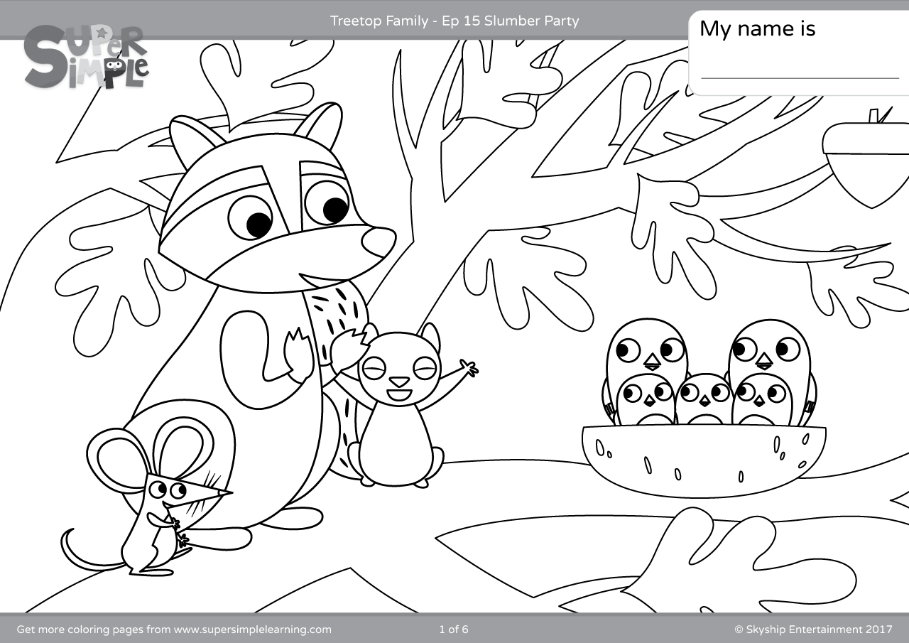 Treetop family coloring pages episode 15 super simple