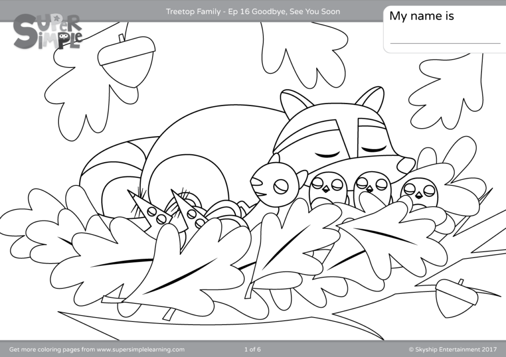 Treetop Family Coloring Pages Episode 16 Super Simple