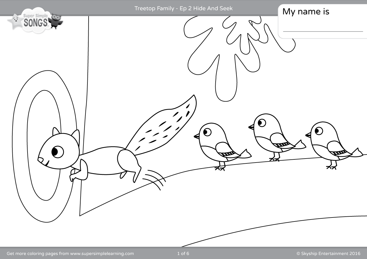 Treetop Family Coloring Pages - Episode 2 - Super Simple