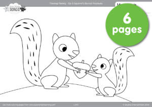 The Squirrel Family Is Busy Gathering Acorns Find Out What They Are Going To Do With All Buried Treasure This 6 Page Set Of Coloring Pages