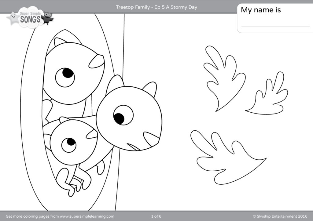 Treetop Family Coloring Pages Episode 5 Super Simple