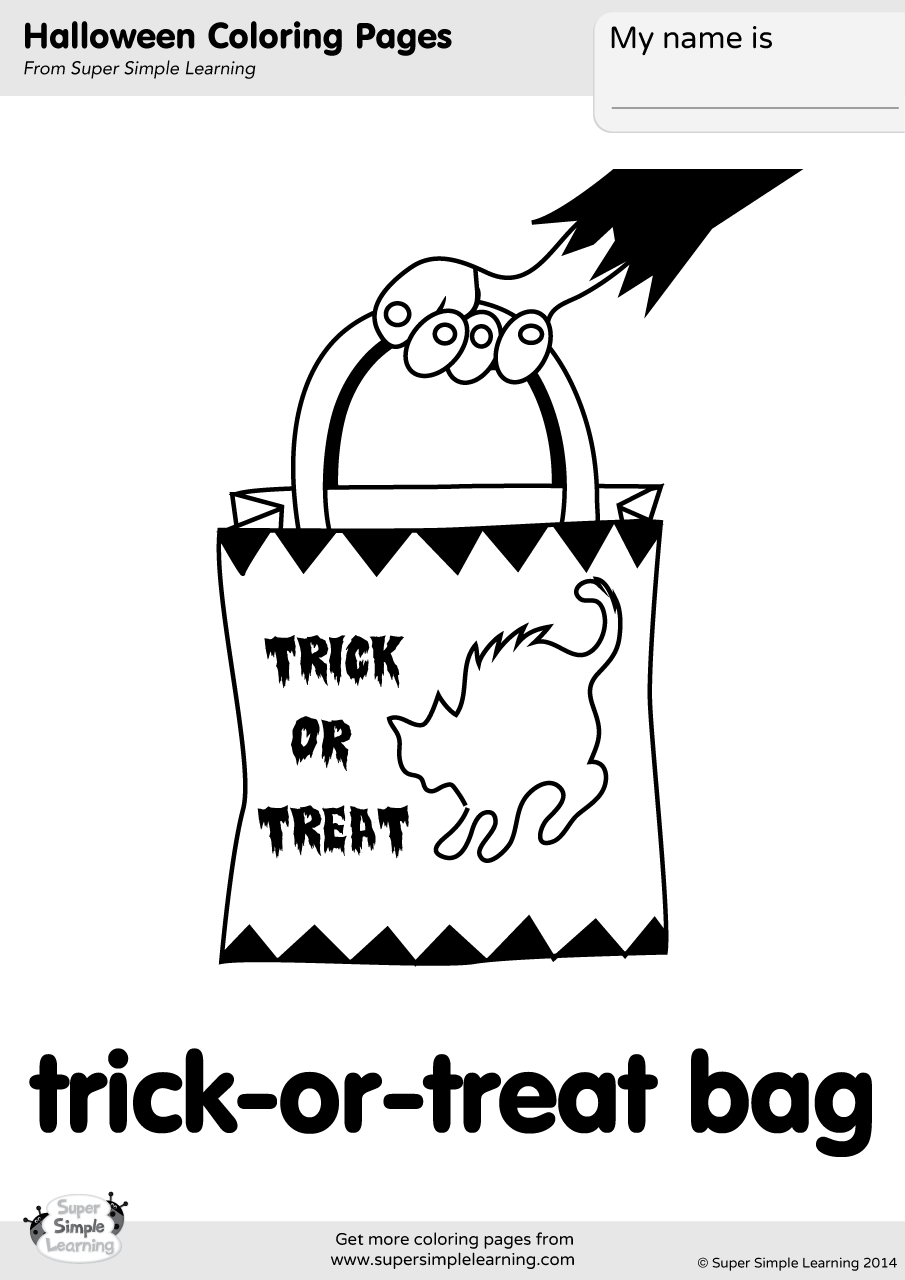 trick or treat bag coloring page super simple