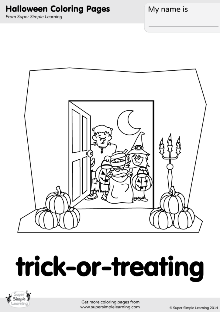 Trick Or Treating Coloring Page Super Simple