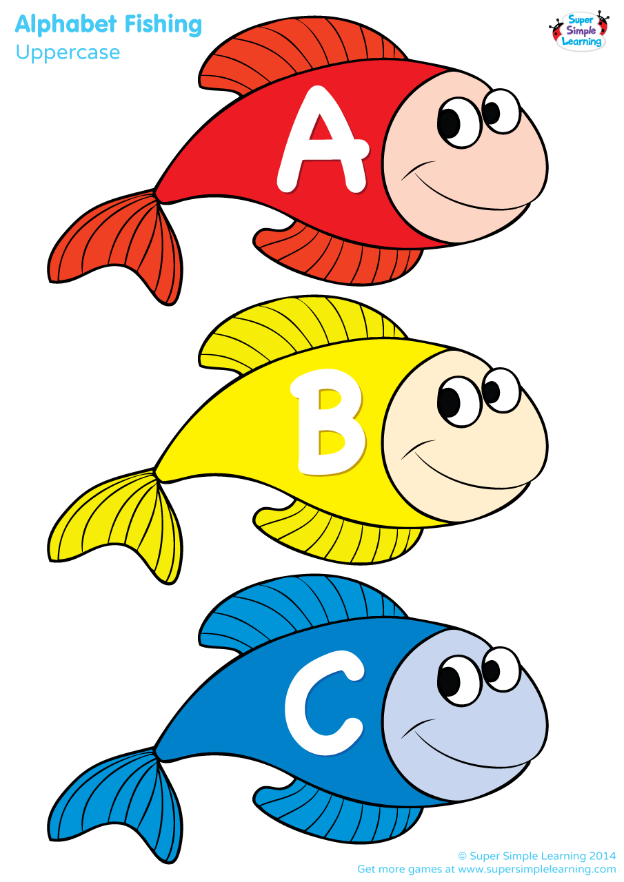 graphic regarding Printable Fishing known as Uppercase Alphabet Fishing Recreation - Tremendous Easy