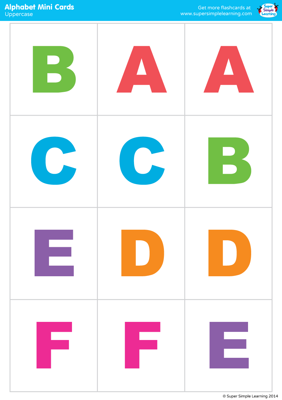 Uppercase Alphabet Mini Cards Colorful Version Super