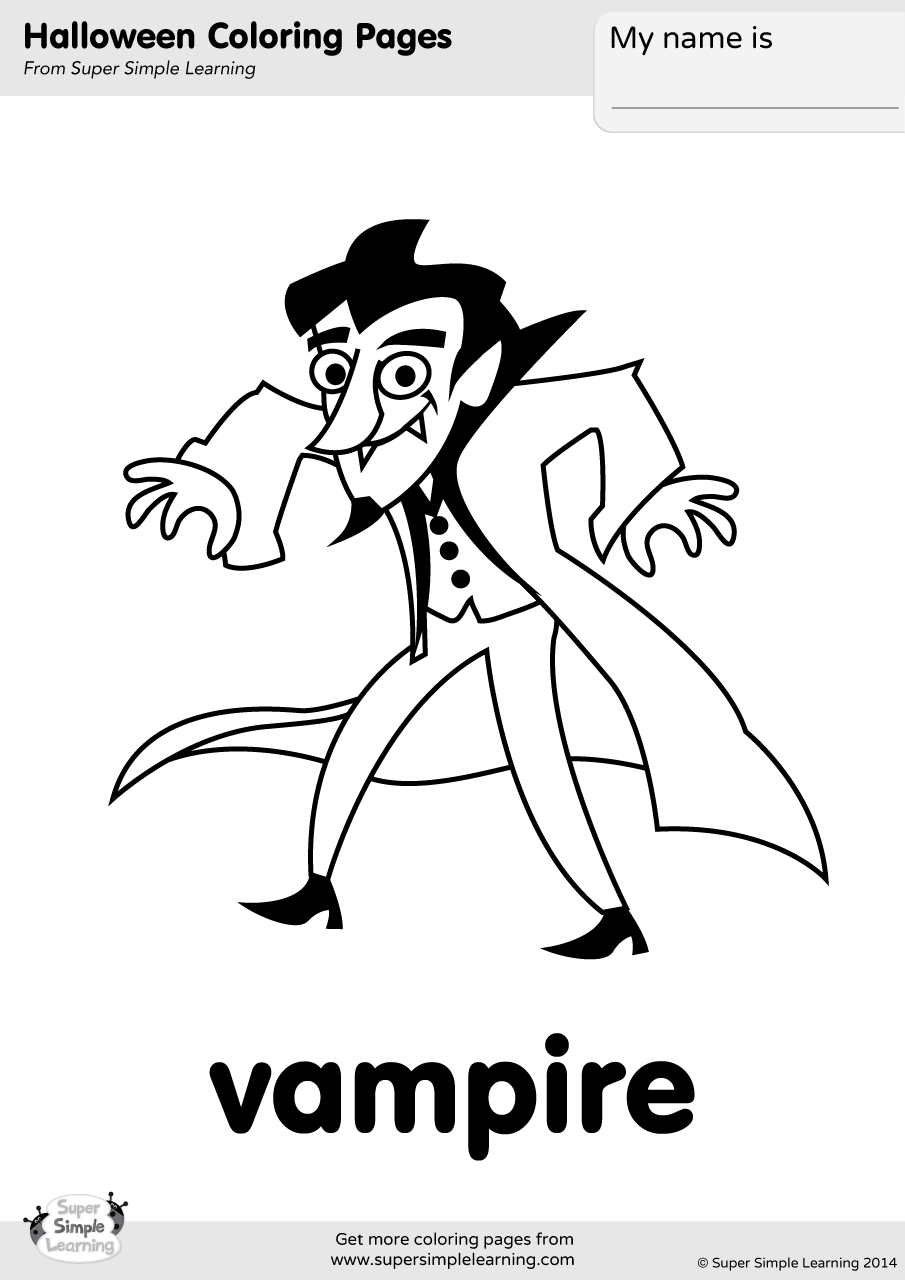 Vampire Coloring Page Super Simple
