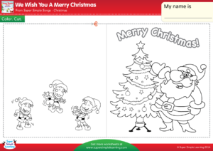 make a super simple christmas card to give to someone special color the pictures and write a message inside assist students who need help writing their - We Wish You Merry Christmas