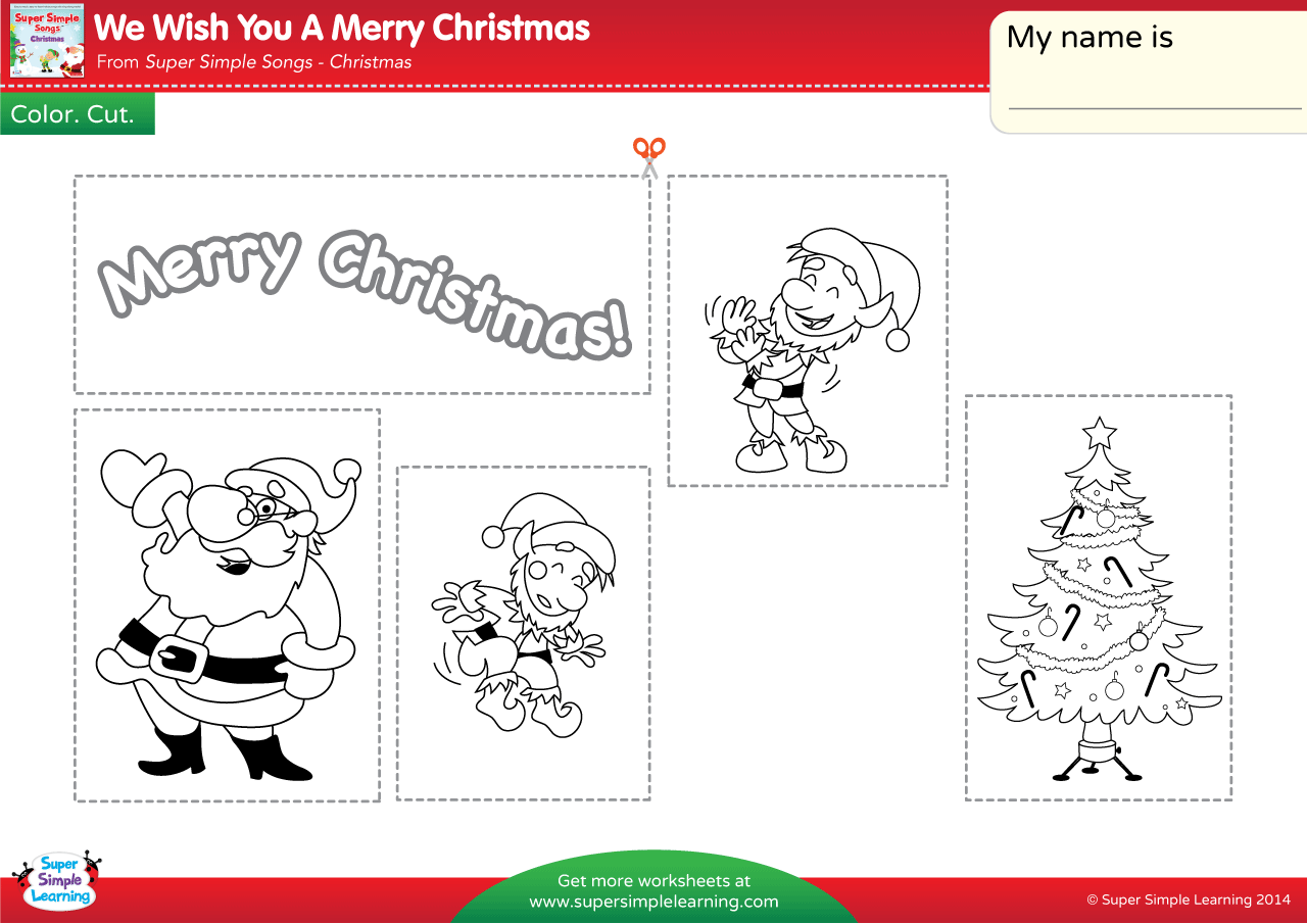 We Wish You A Merry Christmas Worksheet – Color, Cut, & Paste ...