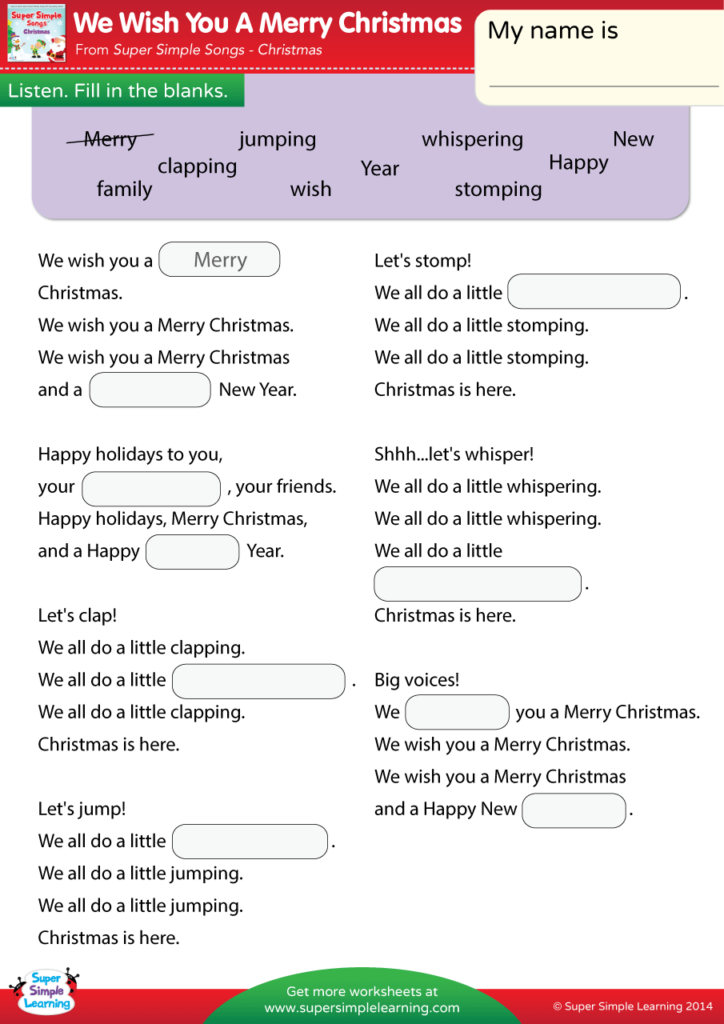 photograph relating to Lyrics to We Wish You a Merry Christmas Printable named We Need Your self A Merry Xmas Worksheet - Fill Within The Blanks