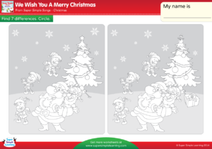 santas elves are outside playing in the snow look at the picture on the left now look at the picture on the right can you find seven things that are - We Wish You Merry Christmas