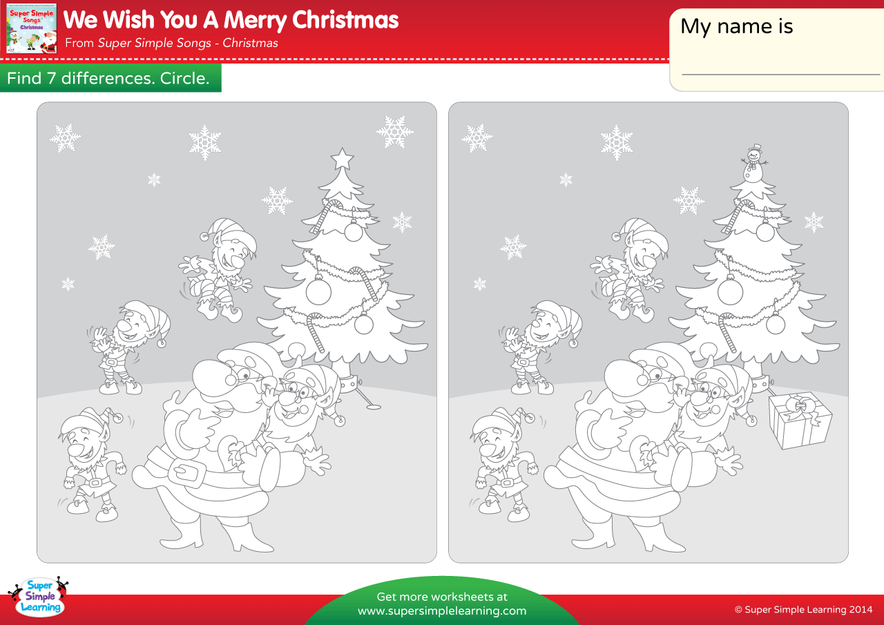 We Wish You A Merry Christmas Worksheet – Find The Differences ...
