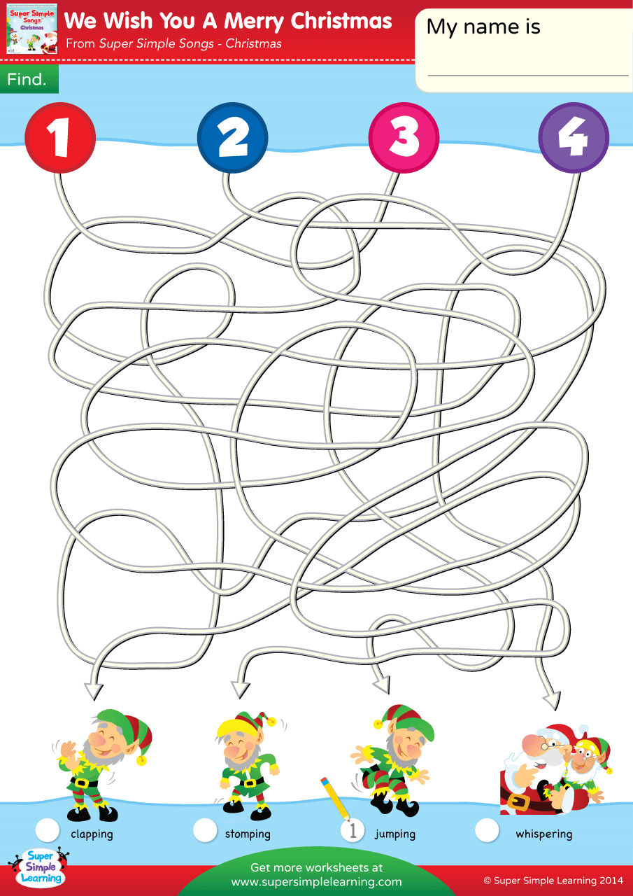 We Wish You A Merry Christmas Worksheet – Follow The Lines | Super ...