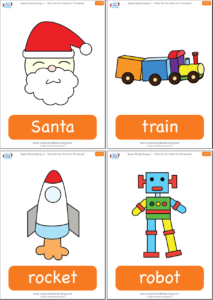 use these flashcards to talk about different types of toys introduced in what do you want for christmas get ready to act out the toys as