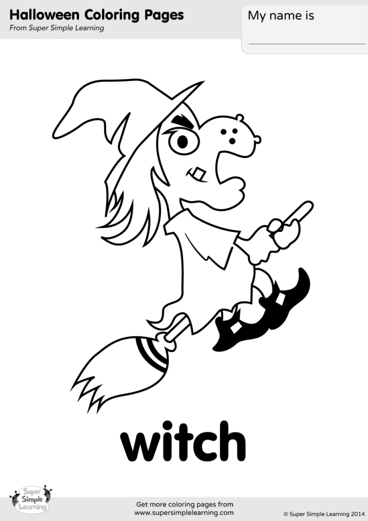 Printable Halloween Witch Coloring Page for Kids #7 – SupplyMe | 1024x724