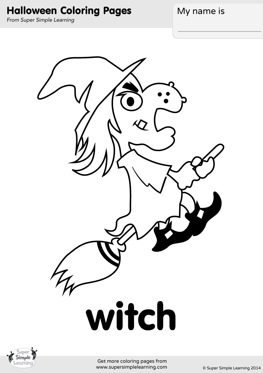 Witch Coloring Page | Super Simple