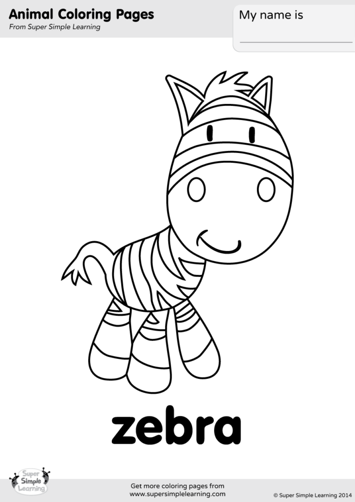 Zebra Coloring Page - Super Simple